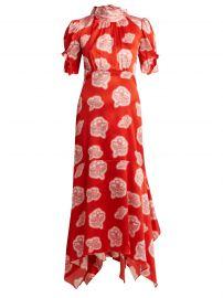 peter pilotto Graphic floral-print high-neck silk dress at Matches