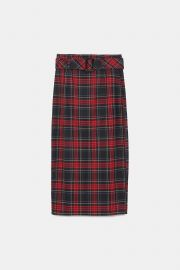 plaid midi skirt at Zara