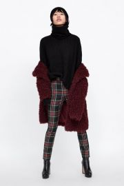 plaid pants with zippers at Zara