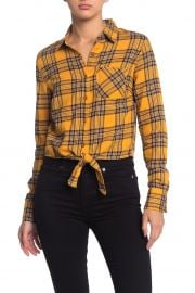 planet gold Tie Front Flannel Crop Button Down Shirt at Nordstrom Rack