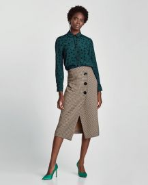 polka dot shirt with contrasting piped seams at Zara