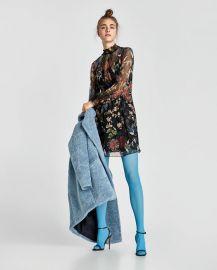 print dress with elastic detail at Zara