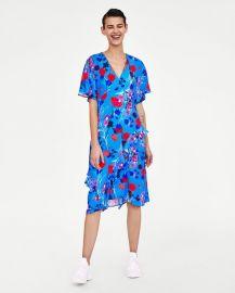 print dress with ruffles at Zara