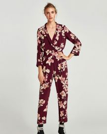 printed bodysuit with lapel collar at Zara