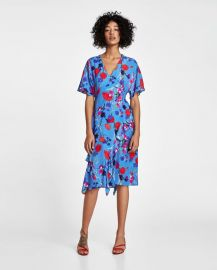 printed dress with frills at Zara
