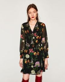 printed mini wrap dress at Zara