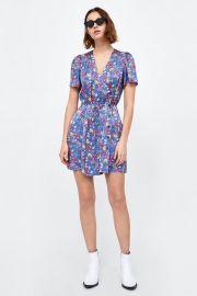 printed satin dress at Zara