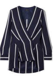rag   bone - Debbie wrap-effect striped silk crepe de chine top at Net A Porter