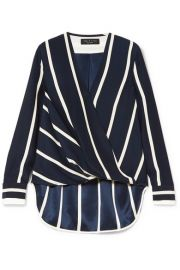 rag   bone   Victor wrap-effect striped silk crepe de chine blouse at Net A Porter