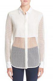 rag   bone  Luna  Stretch Cotton Mesh Shirt at Nordstrom