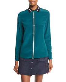 rag   bone JEAN Nico Long-Sleeve Tipped Silk Blouse  Teal at Neiman Marcus