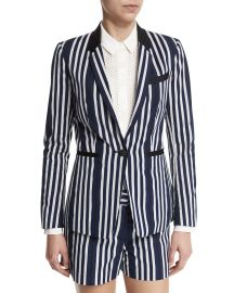 rag   bone JEAN Windsor Striped Woven Blazer  Navy White at Neiman Marcus