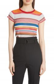 rag  amp  bone Katie Metallic Stripe Tee at Nordstrom
