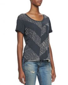 rag and boneJEAN Chevron Knit Pocket Tee at Neiman Marcus