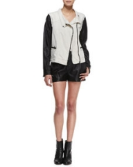 rag and boneJEAN Twill and Leather Moto Jacket and Elm Pleated Leather Shorts at Neiman Marcus