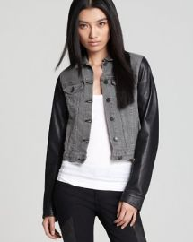 rag andamp boneJEAN Jean Jacket - Leather Sleeves at Bloomingdales