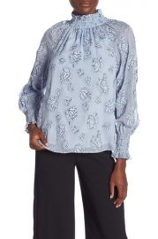 rebecca taylor LONG SLEEVE SILK BLEND SMOCKED FLORAL BLOUSE at Nordstrom Rack