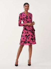 renda Mesh Faux-Wrap Dress at DvF
