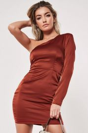 rust one sleeve stretch satin mini dress at Missguided