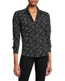 saint laurent Constellation Print Long-Sleeve Button-Front Blouse at Bergdorf Goodman