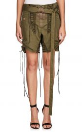 saint laurent Cotton-Linen Twill Lace-Up Shorts at Barneys