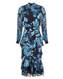 saloni Isla Ruffle Midi Dress at Intermix