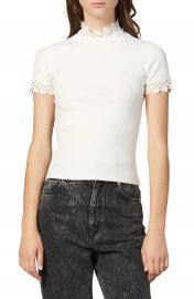 sandro Anie Lace Trim Tee   Nordstrom at Nordstrom
