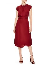sandro Conique High-Collar Tie Waist Dress at Bloomingdales
