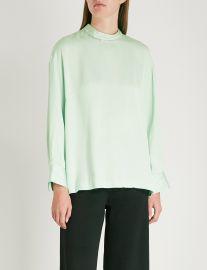 sandro Crystal embellished-collar satin blouse at Selfridges