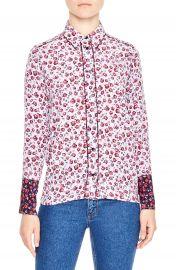 sandro Floral Print Silk Shirt at Nordstrom