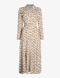 sandro GRAPHIC-PRINT BELTED CREPE DRESS at Selfridges