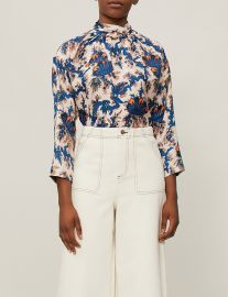 sandro High-neck printed silk blouse at Selfridges