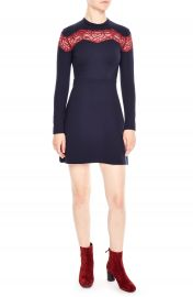 sandro Jaisy Lace Inset A-Line Dress at Nordstrom