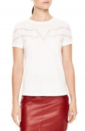 sandro Lace Trim Crewneck Tee at Nordstrom