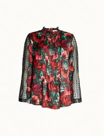 sandro Lace-sleeve floral-print satin blouse at Selfridges