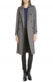 sandro Long Plaid Coat at Nordstrom