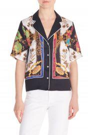 sandro Maxence Scarf Print Pajama Shirt   Nordstrom at Nordstrom