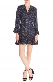sandro Milly Chain Print Ruffle Detail Long Sleeve Mini Dress   Nordstrom at Nordstrom