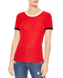 sandro Nolene Contrast-Color Short Sleeve Sweater at Bloomingdales