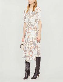 see by chloe V-neck printed crepe midi dress at Selfridges
