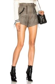 self-portrait Checked Double Zip Shorts in Grey   Red   FWRD at Forward