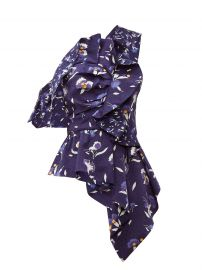 self portrait Ruffled floral-print satin top at Matches