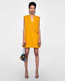 shawl collar dress with shoulder pads at Zara