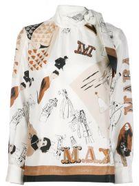 sketch print scarf blouse at Farfetch