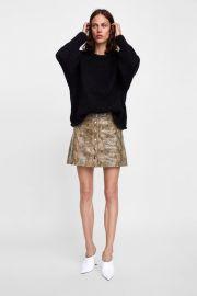 snakeskin print leather mini skirt at Zara