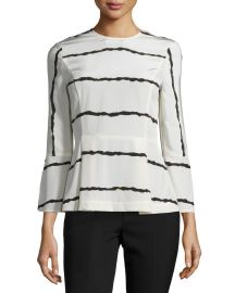 Striped Silk Bell-Sleeve Blouse at Neiman Marcus