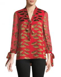 Alice + Olivia x Donald Robertson Sheila Lips Burnout Tie-Neck Top at Neiman Marcus