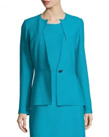 st john collection Clair Knit Peplum Jacket Blue at Last Call