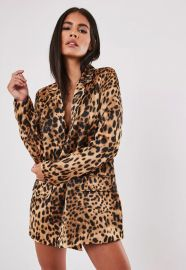 stassie x missguided brown leopard print co ord oversized blazer at Missguided