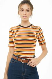 striped ribbed tee at Forever 21